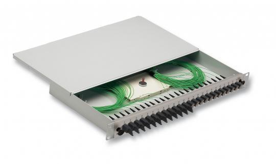 """19""""Spleißbox  1HE, tiefe 265mm, 12 fach bestückt mit  12 x E2000 8° """" grün RDM """" Kupplungen  komplet"""