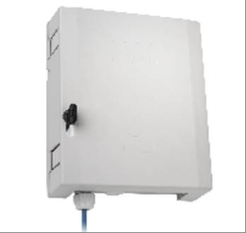Spleißgehäuse OD 12  Ausführung: 3x LC-QD/APC 8° (OS2)  Bestückt mit:  3x LC-QD-Kupplung (SM, Hülse
